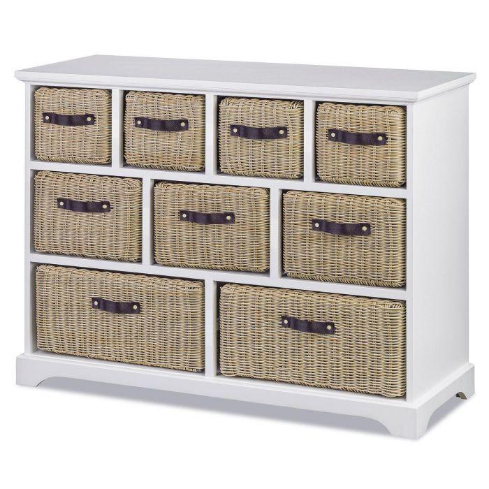 Tetbury Large White Unit With 9 Wipe, Tetbury Furniture White Storage Bench With Brown Baskets And Cushion