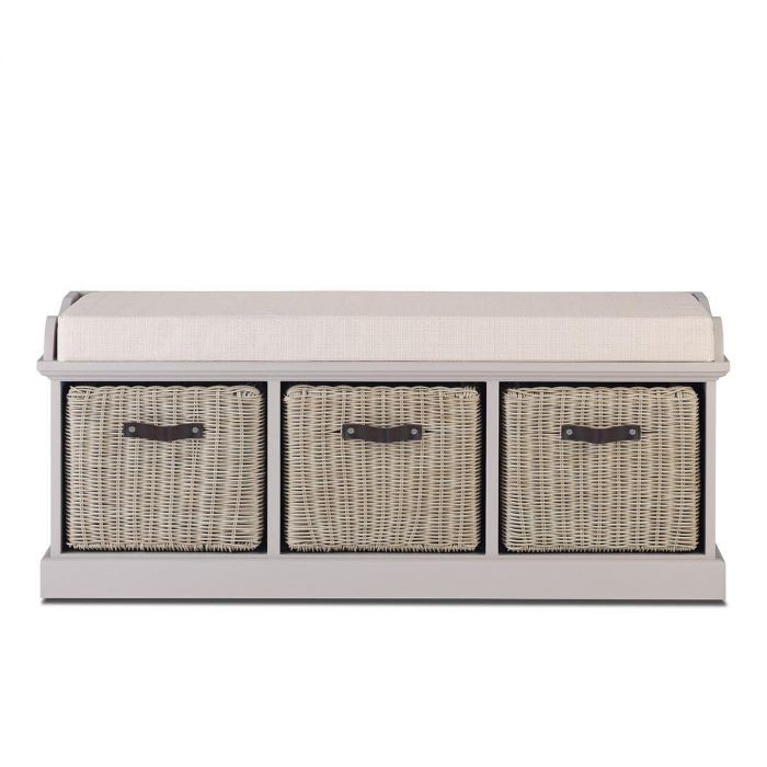 Brown Faux Rattan Baskets And Cream Cushion, Tetbury Furniture White Storage Bench With Brown Baskets And Cushion