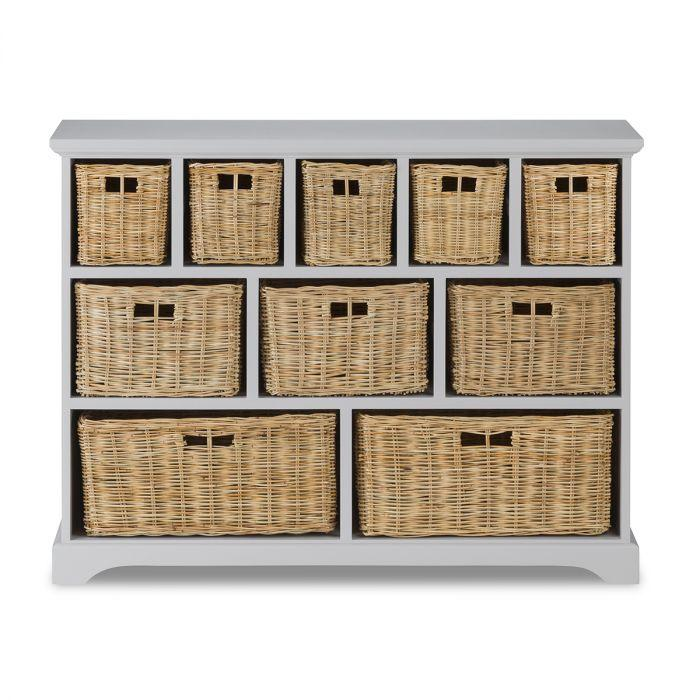 Tetbury Skimming Stone Large Cabinet, Tetbury Furniture White Storage Bench With Brown Baskets And Cushion