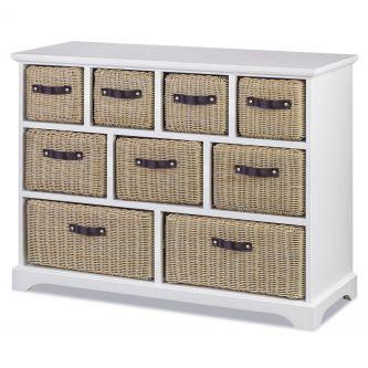 Tetbury White 9 Drawer Cabinet with Extra-Strong Storage Baskets