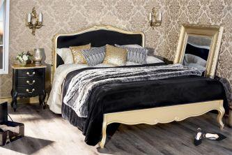 Juliette Gold 4ft6 Double Bed with Black Upholstered Headboard