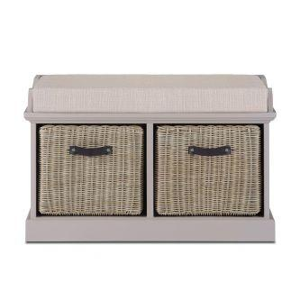 Tetbury Truffle Bench with 2 Brown Faux Rattan Baskets and Cream Cushion