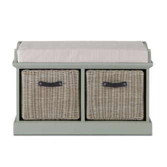 Tetbury Sage Green Bench with 2 Brown Faux Rattan Baskets and Cream Cushion