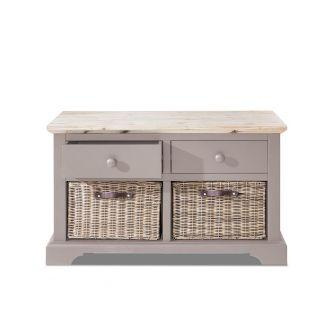 Florence Storage Bench with 2 Drawers and Basket - Truffle