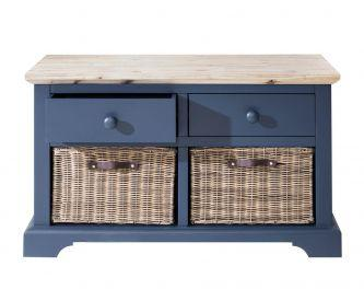 Florence Storage Bench with 2 Drawers and Baskets -  Navy Blue