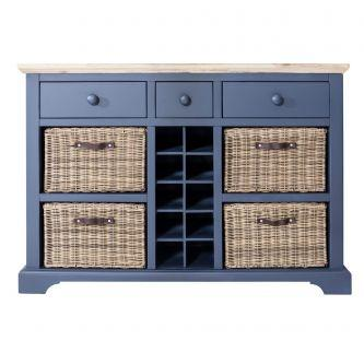 Florence Sideboard with Wine Rack - Navy Blue