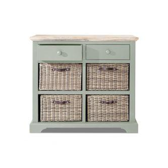 Florence Sideboard With 2 Drawers And 4 Baskets Sage Green