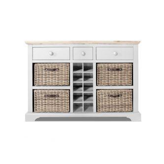 Florence Sideboard with Wine Rack - White