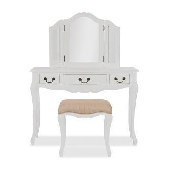 Juliette white dressing table with mirror and stool