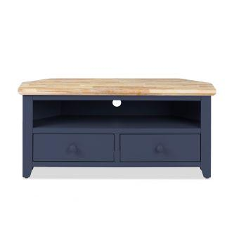 Florence Corner TV Unit with 2 Drawers, TV Stand - Navy Blue