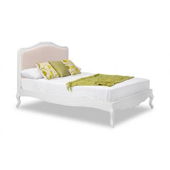 Juliette Shabby Chic White 5ft King Size Bed with Upholstered Headboard
