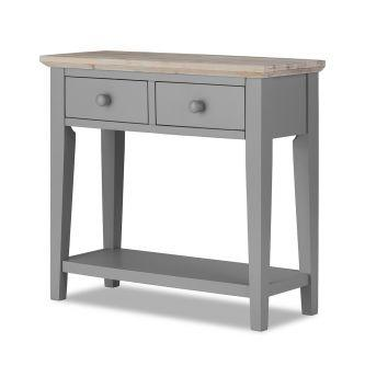 florence grey console table with 2 drawers