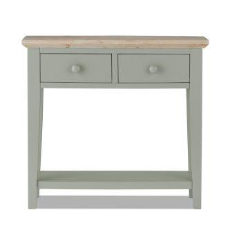 florence sage green console table with 2 drawers