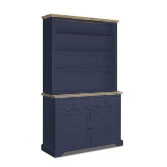 Large dresser with shelving in navy blue for Kitchens and dining rooms.