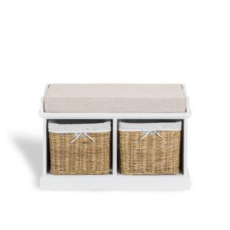 Tetbury white storage bench with 2 natural baskets and cushion